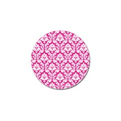 White On Hot Pink Damask Golf Ball Marker