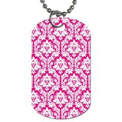 White On Hot Pink Damask Dog Tag (Two-sided)