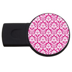 White On Hot Pink Damask 2gb Usb Flash Drive (round)