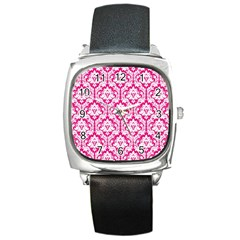 White On Hot Pink Damask Square Leather Watch