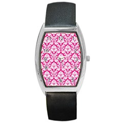 White On Hot Pink Damask Tonneau Leather Watch