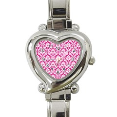 White On Hot Pink Damask Heart Italian Charm Watch