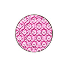 White On Hot Pink Damask Golf Ball Marker (for Hat Clip)