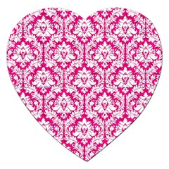 White On Hot Pink Damask Jigsaw Puzzle (heart)