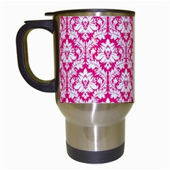 White On Hot Pink Damask Travel Mug (White)