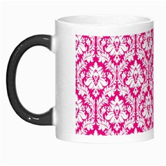 White On Hot Pink Damask Morph Mug