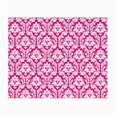 White On Hot Pink Damask Glasses Cloth (Small)