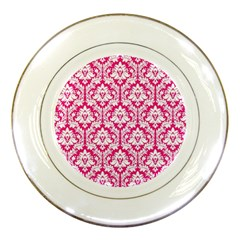 White On Hot Pink Damask Porcelain Display Plate
