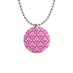 White On Hot Pink Damask Button Necklace