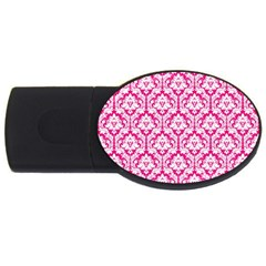 White On Hot Pink Damask 4gb Usb Flash Drive (oval)
