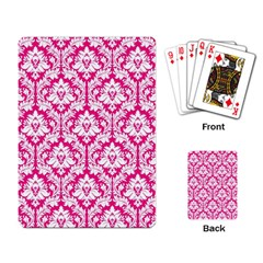 White On Hot Pink Damask Playing Cards Single Design