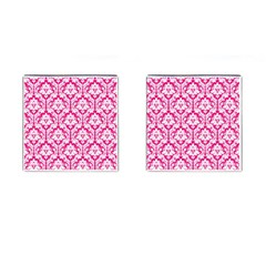 White On Hot Pink Damask Cufflinks (square)