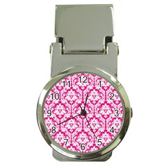 White On Hot Pink Damask Money Clip With Watch