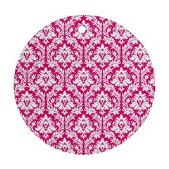 White On Hot Pink Damask Round Ornament (two Sides)