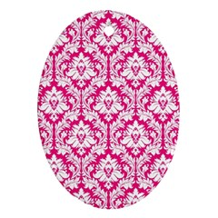 White On Hot Pink Damask Oval Ornament (Two Sides)