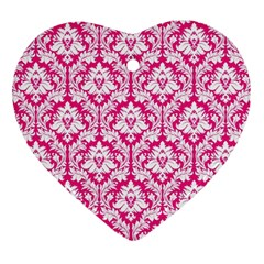 White On Hot Pink Damask Heart Ornament (Two Sides)