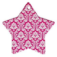 White On Hot Pink Damask Star Ornament (Two Sides)