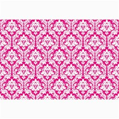 White On Hot Pink Damask Canvas 12  x 18  (Unframed)