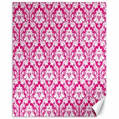 White On Hot Pink Damask Canvas 16  x 20  (Unframed)