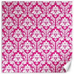 White On Hot Pink Damask Canvas 20  x 20  (Unframed)