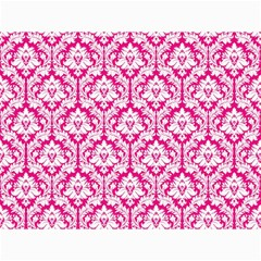 White On Hot Pink Damask Canvas 18  x 24  (Unframed)