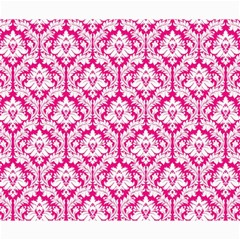 White On Hot Pink Damask Canvas 20  x 24  (Unframed)