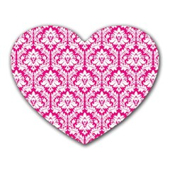 White On Hot Pink Damask Mouse Pad (heart)