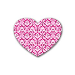 White On Hot Pink Damask Drink Coasters (Heart)