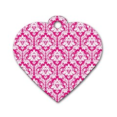 White On Hot Pink Damask Dog Tag Heart (Two Sided)