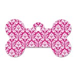 White On Hot Pink Damask Dog Tag Bone (Two Sided) Front