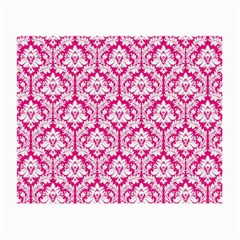 White On Hot Pink Damask Glasses Cloth (small, Two Sided)