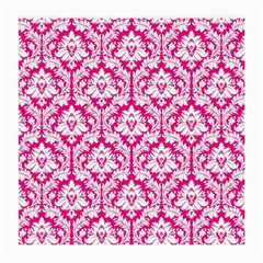 White On Hot Pink Damask Glasses Cloth (Medium, Two Sided)