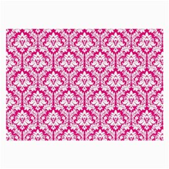 White On Hot Pink Damask Glasses Cloth (Large, Two Sided)