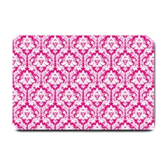 White On Hot Pink Damask Small Door Mat