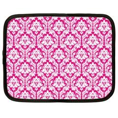 White On Hot Pink Damask Netbook Sleeve (large)