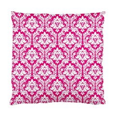 Hot Pink Damask Pattern Standard Cushion Case (Two Sides)