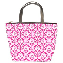 Hot Pink Damask Pattern Bucket Bag