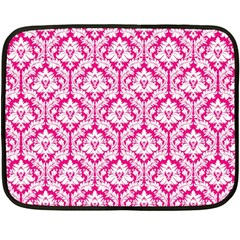 Hot Pink Damask Pattern Double Sided Fleece Blanket (mini)