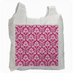 White On Hot Pink Damask White Reusable Bag (two Sides)