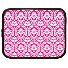 White On Hot Pink Damask Netbook Sleeve (xl)
