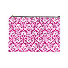 Hot Pink Damask Pattern Cosmetic Bag (large)