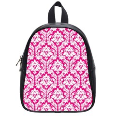 White On Hot Pink Damask School Bag (Small)