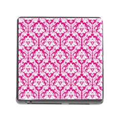 White On Hot Pink Damask Memory Card Reader With Storage (square)