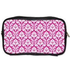 Hot Pink Damask Pattern Toiletries Bag (two Sides)