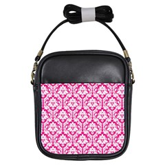 Hot Pink Damask Pattern Girls Sling Bag