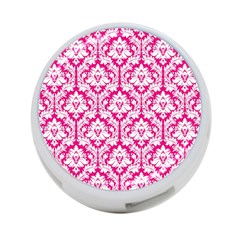 White On Hot Pink Damask 4-Port USB Hub (Two Sides)