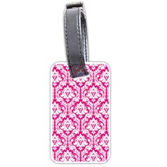 White On Hot Pink Damask Luggage Tag (two Sides)