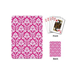 White On Hot Pink Damask Playing Cards (Mini)