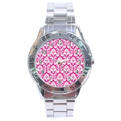 White On Hot Pink Damask Stainless Steel Watch
