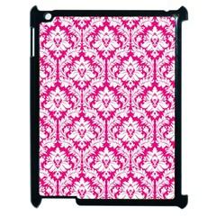 White On Hot Pink Damask Apple Ipad 2 Case (black)